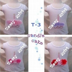 Cute birthday candle and flower girl petti tops cotton T-shirt