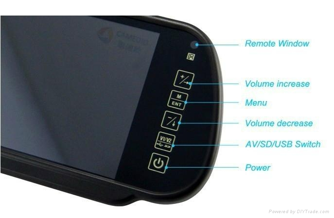 """7""""TFT LCD Rearview mirror monitor with USB/SD/MP5 4"""