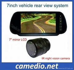 7inch waterproof car rear view camera system