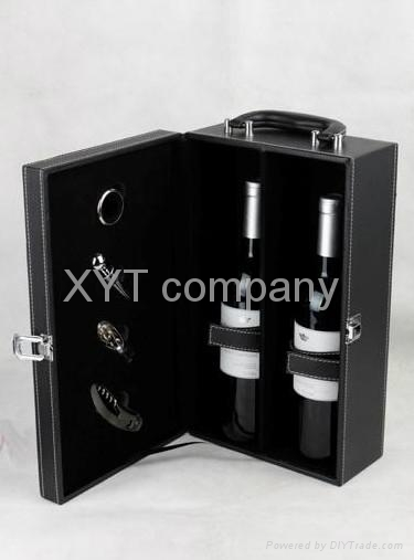 stock unique PU leather gift red wine box factory wholesale  1