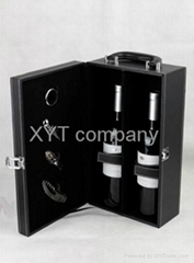 stock unique PU leather gift red wine box factory wholesale