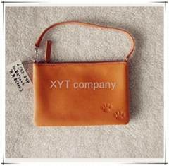 customize simple design and high grade genuine cow leather ladies wallet