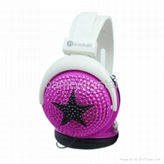 Sound Lab Pink Crystal Effect Bling Stereo Headphones