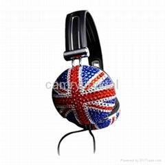 Union Jack Crystal Rhinestone DJ Hi-Def Noise-Canceling Over-Ear Headphones