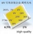 供应9v18v36v72v2835白光Ra80高电压灯珠0.5w 6
