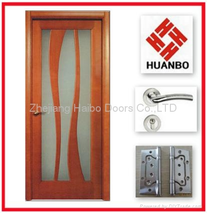 Modern Design Pvc Mdf Interior Wooden Glass Door Hb 18