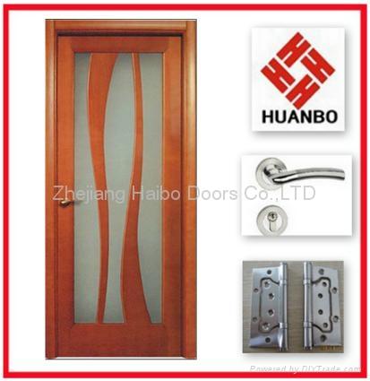 Modern design pvc mdf interior wooden glass door hb 18 for Room wooden door design