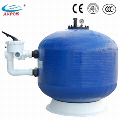 Side mount fiberglass sand filter for swimming pool
