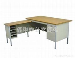 曲尺木面鋼檯