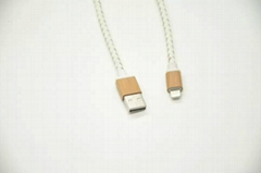 A+++ Top genuine leather cable with real wood bamboo dataline