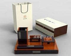 尚元堂風車紋紅木筆筒5件套 紅木工藝禮品定製