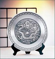 純錫坊 純錫龍盤擺件定製 成都工藝禮品定製