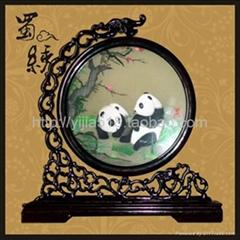 熊貓蜀繡  梅花雙熊龍頭架 成都特色禮品