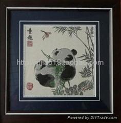 熊貓蜀錦鏡框
