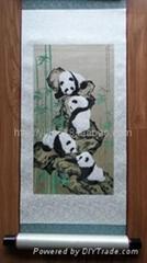 熊貓蜀錦卷軸步步高升