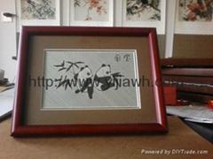 竹编熊猫镜框