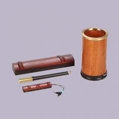定製紅木筆筒簽字筆 紅木U盤商務禮品定製 公司會議禮品定製