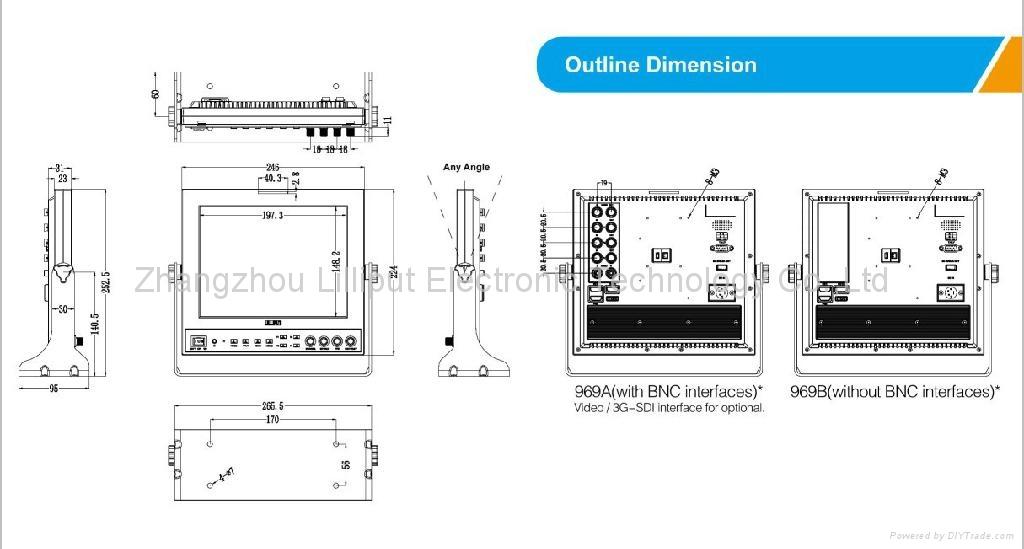 NEW!!! LILLIPUT 9.7'' Field Monitor with SDI,Component,HDMI input 4