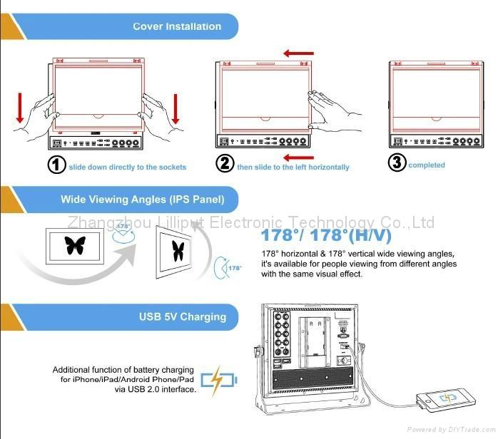 NEW!!! LILLIPUT 9.7'' Field Monitor with SDI,Component,HDMI input 5