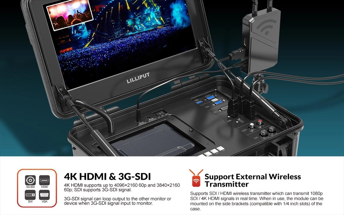 3G SDI Carry-On Broadcast Director Monitor 4K Portable Film Production Monitor 4