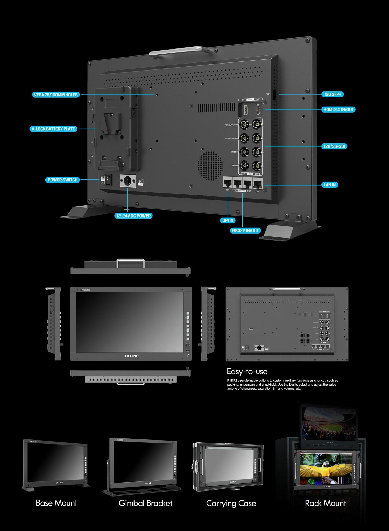 LILLIPUT Q17 17.3 inch 4K 12G-SDI HDMI 2.0 12G SFP Production Monitor  12
