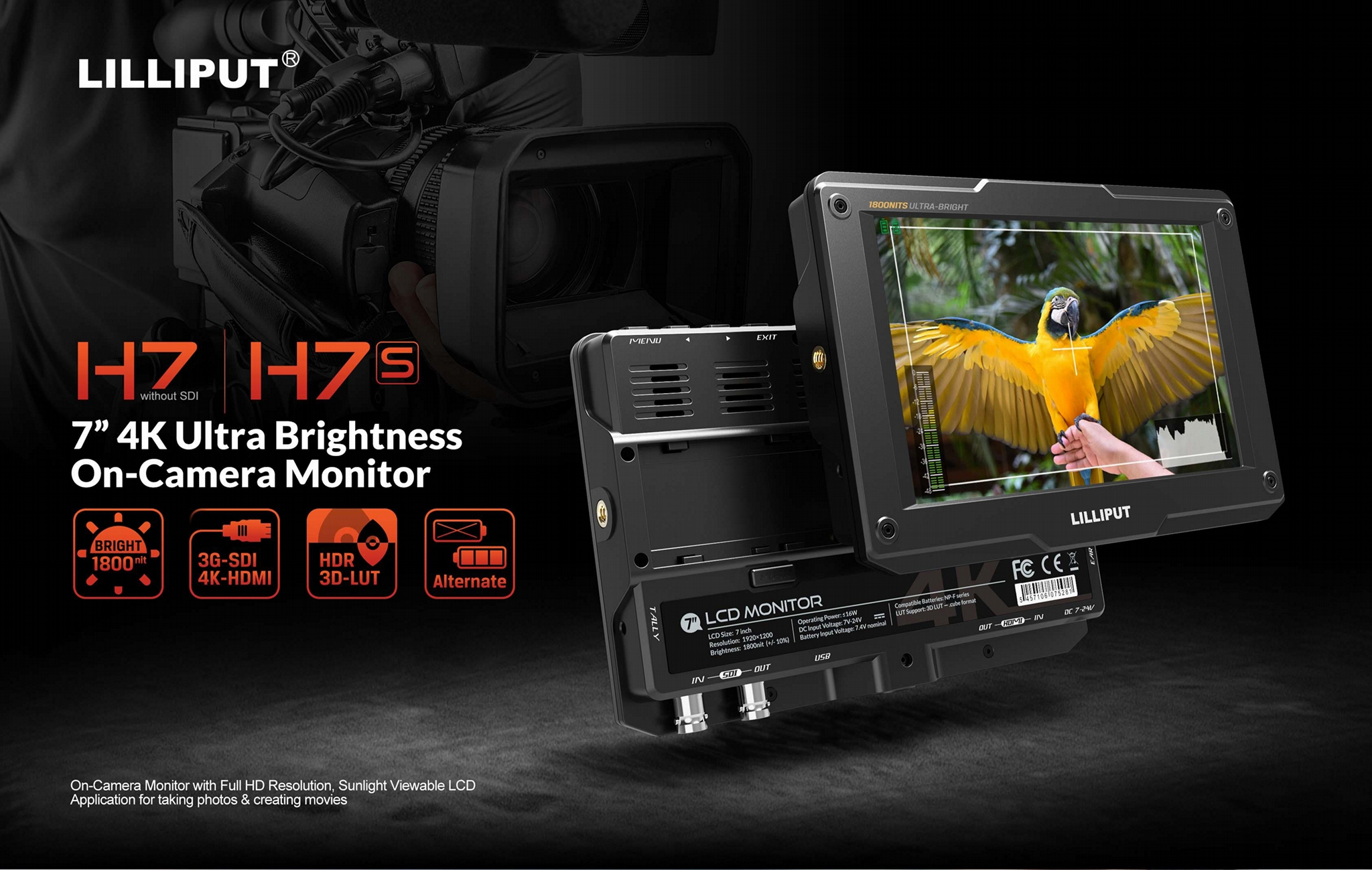 LILLIPUT H7 4K Ultra Brightness 7 inch Camera Monitor with HDR, 3D-LUT, Color sp 4