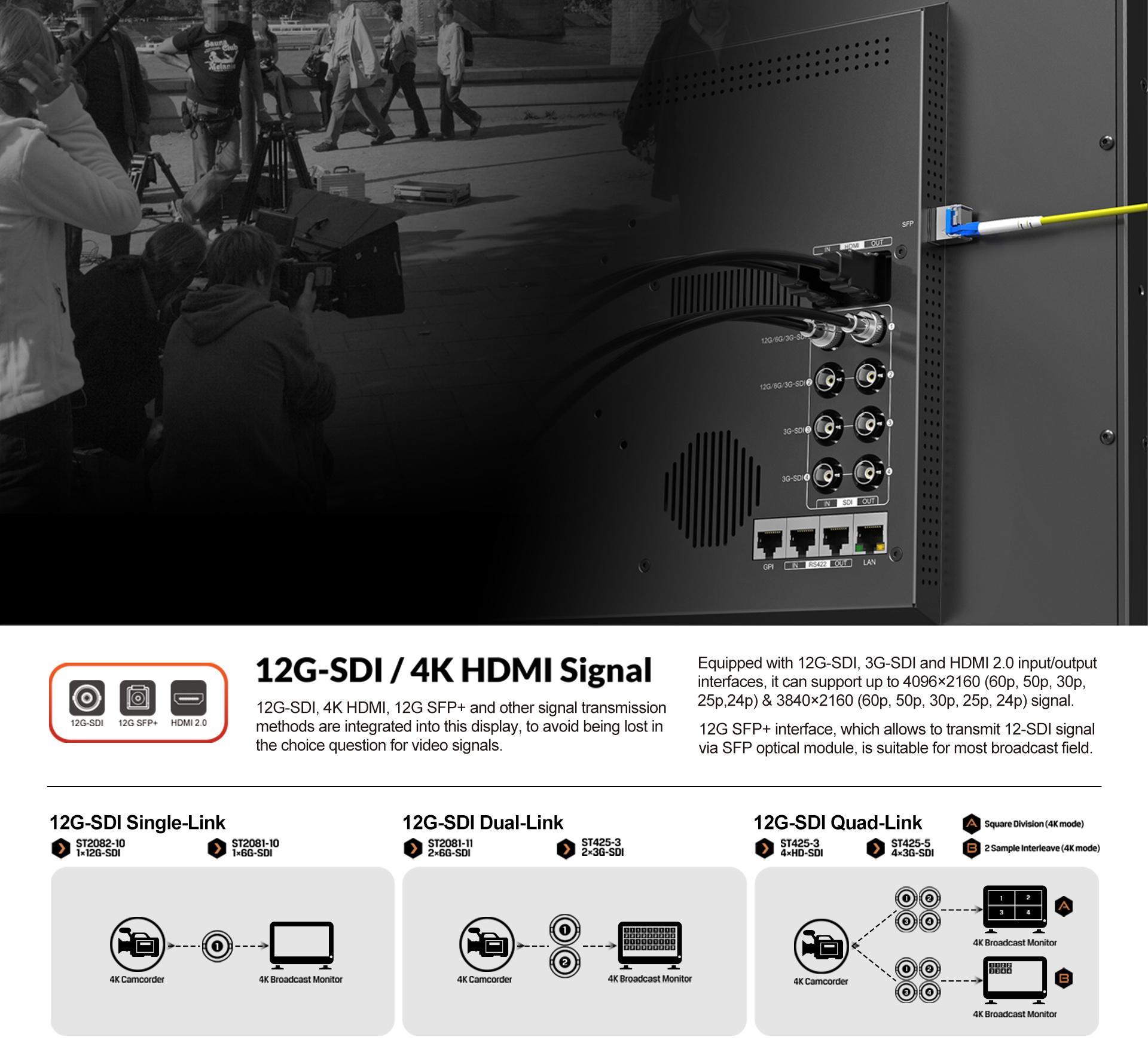 LILLIPUT 23.8inch UHD 12G-SDI,HDMI 2.0 broadcast  production studio monitor 9
