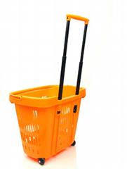 超市拉杆2輪購物籃 34L