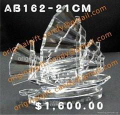 水晶帆船擺設,帆船禮品,開業送
