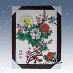 陶瓷粉彩花開富貴瓷板畫