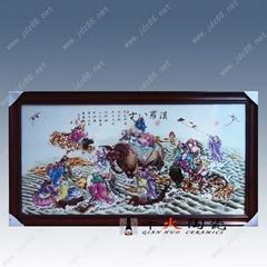 陶瓷粉彩十八羅漢瓷板畫