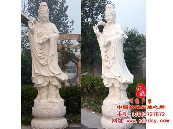 汉白玉石雕滴水观音雕像