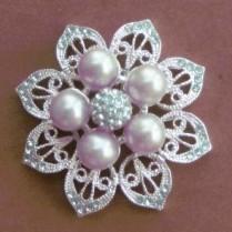 Silver flower pearls brooch