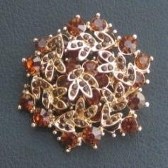Beautiful diamond floral gold rhinestone brooch