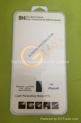 high quality iphone 6 glass screen protector with or without pack -factory offer (Hot Product - 1*)