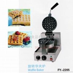 商用電熱旋轉華夫爐 松餅機 烤餅機華夫餅機、咖啡吧台加厚格子餅