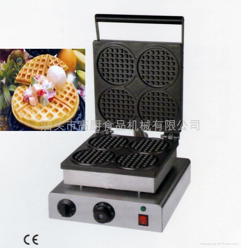 直销!商用四格圆形华夫炉、华夫饼机、松饼机、奶茶咖啡格子饼机 1