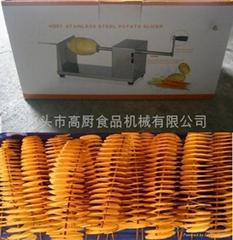黄金薯片机薯塔机手动薯塔机手摇薯塔机土豆切片机螺旋薯塔送工具