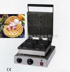 商用四格圓形華夫爐、華夫餅機、松餅機、奶茶咖啡格子餅機