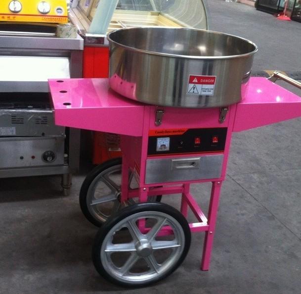 220V立式帶輪商用棉花糖機棉花機帶手推車 1