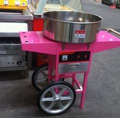 220V立式帶輪商用棉花糖機棉花機帶手推車