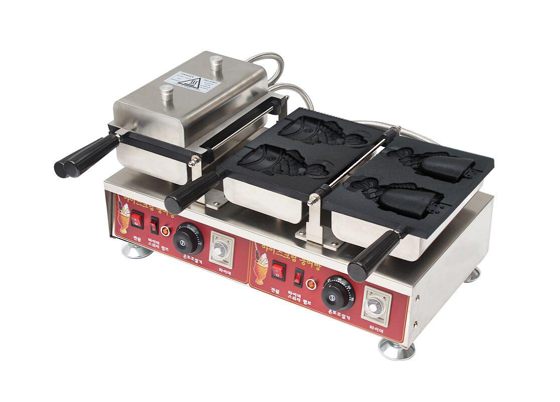 Electric 110v 220v Korean Ice cream Taiyaki Machine Open mouth fish waffle maker 6