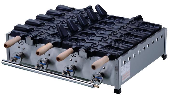新款FY-1102C.R 10条燃气开口鲷鱼烧机 鱼形雪糕皮机 3