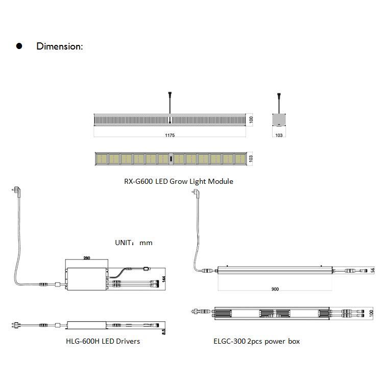 500W/600W大棚植物灯高功率顶光植物补光模组 7