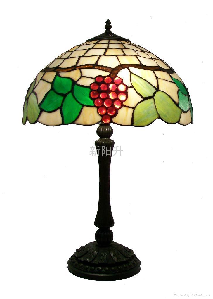 仿古艺术彩玻欧式客房台灯