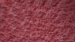 fine polyester knitted PV plush fleece with dull yarn embossed rose patten