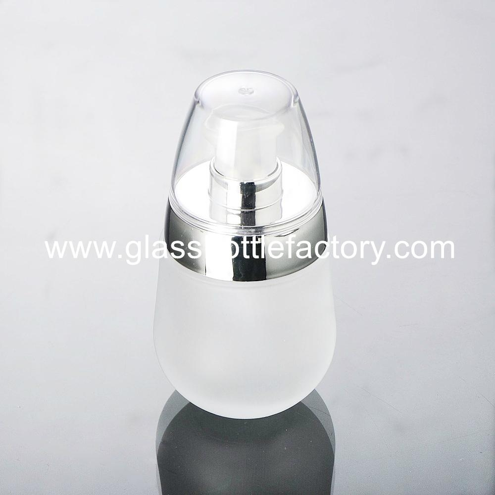 Frost Glass Lotion Bottle With Cap 1