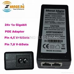 High Power 24v 1a Gigabit Poe Adapter