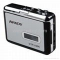 Audio USB Portable Cassette-to-MP3 Converter Capture Tape Player with Headphones