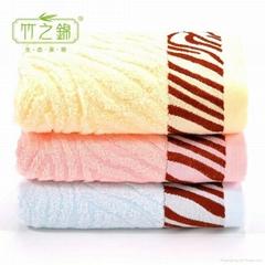 竹之锦 经典款竹纤维波浪缎纹提花大毛巾